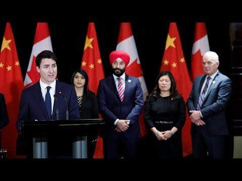 Le premier ministre Trudeau tient un point de presse à Beijing en Chine