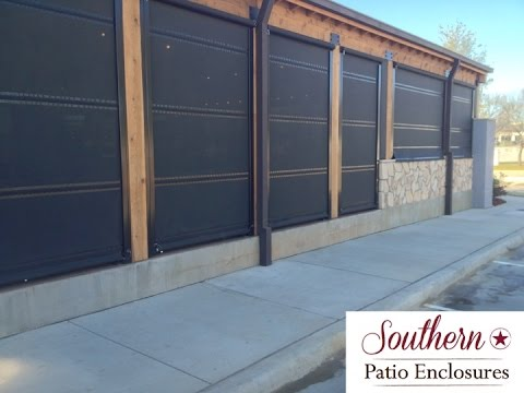 Southern Patio Enclosures Operating Our HIGH WIND Hand Crank Drop Curtain Patio  Enclosure System