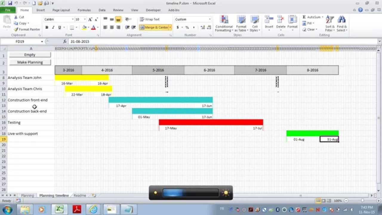 dynamic graphic project timeline excel macro youtube
