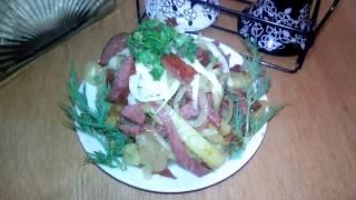 Картошка с колбасой в мультиварке видео рецепт