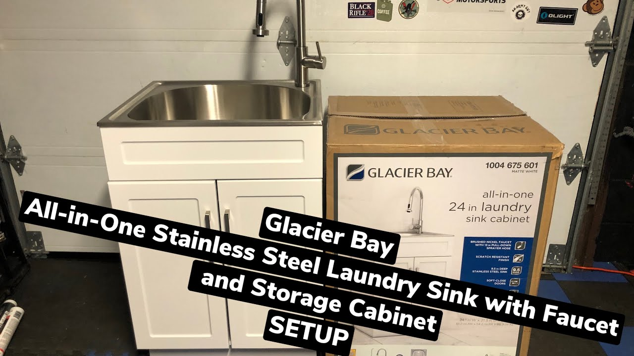 glacier bay all in one laundry stainless utility sink cabinet unboxing full setup easy
