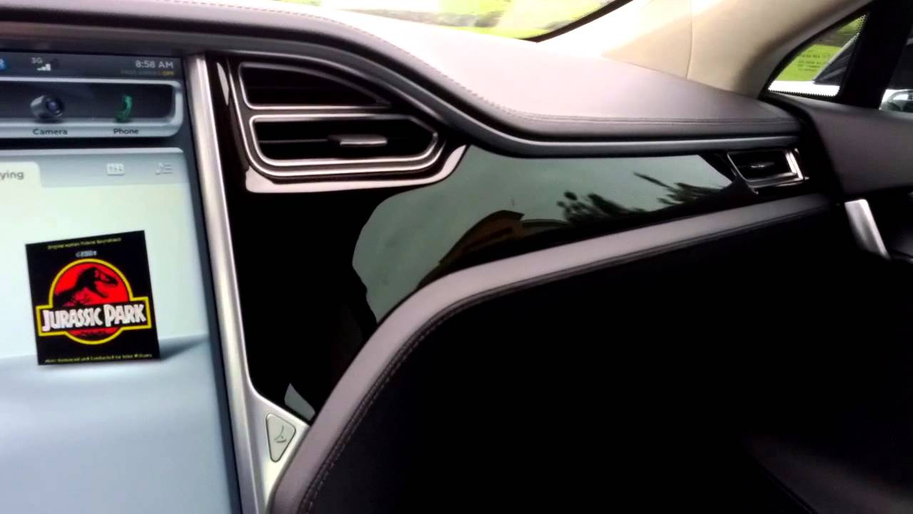 Tesla Model S Interior >> Piano Black Décor: Reflections on an overcast day - YouTube