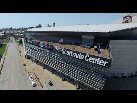 Drone over Scottrade Center in St. Louis (4K)