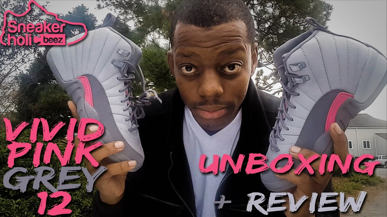 66640d269f22f8 AIR JORDAN 12 GS VIVID PINK GREY UNBOXING + REVIEW - YouTube