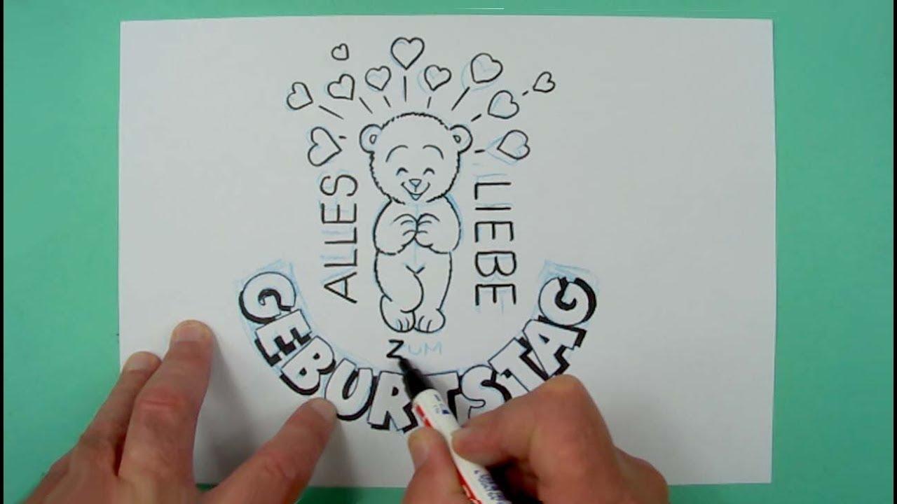 Wie Zeichnet Man Eine Geburtstagskarte Zeichnen Fur Kinder Und