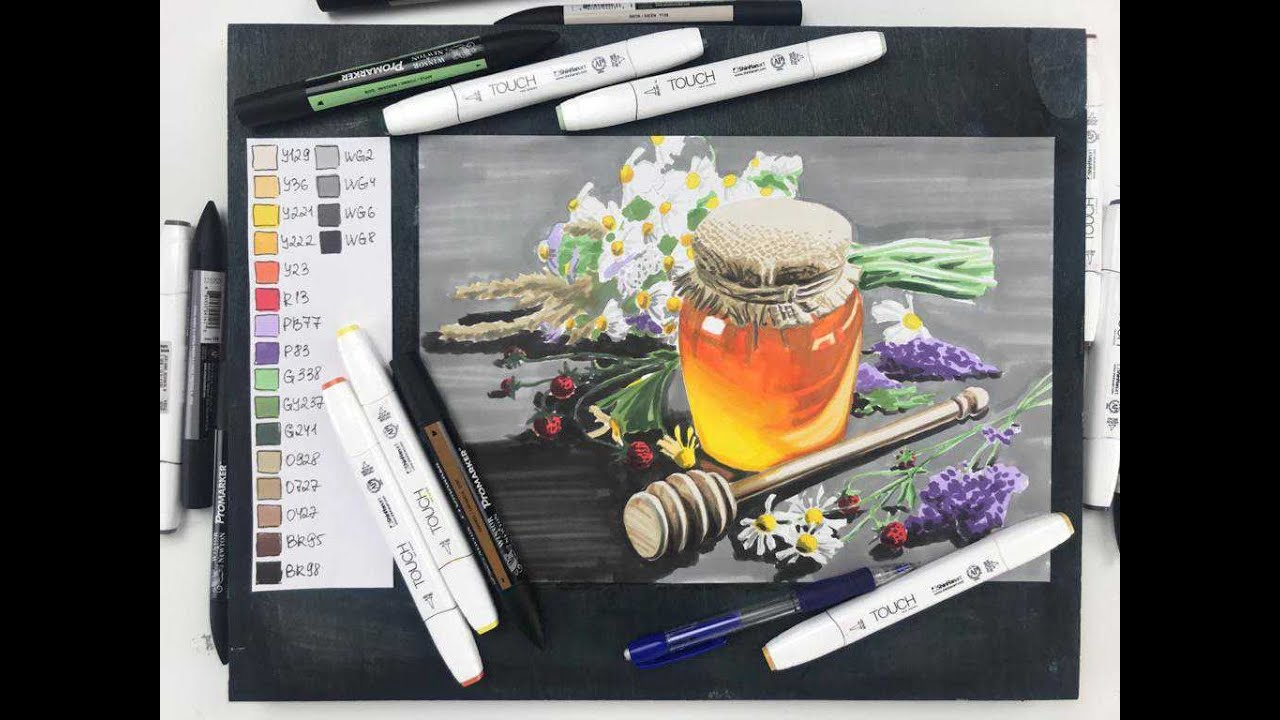Мастер-класс по скетчингу маркерами «Цветочный мёд»