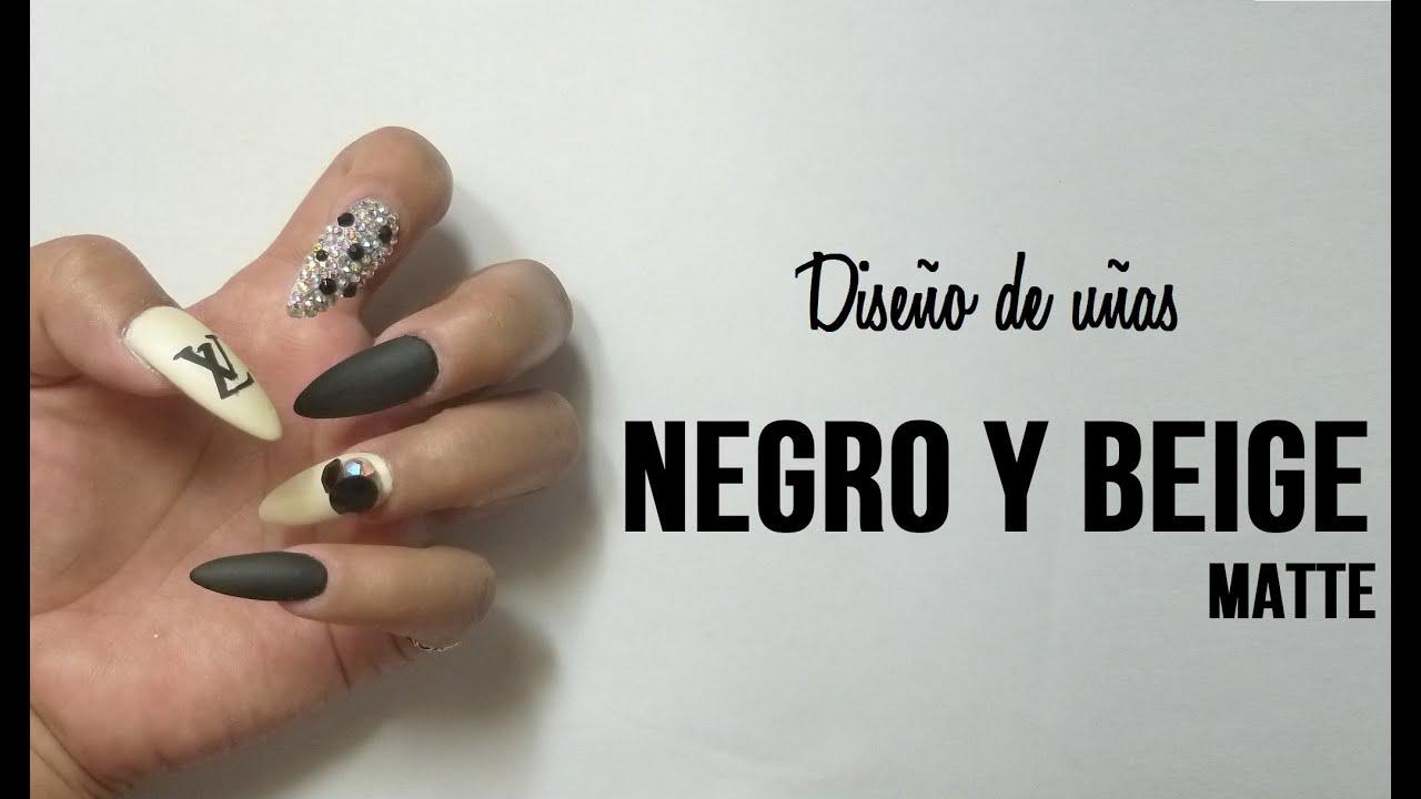 Diseño de uñas acrilicas BEIGE Y NEGRO - YouTube