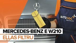Kā nomainīt MERCEDES-BENZ E W210 motoreļļu un eļļas filtru [PAMĀCĪBA]