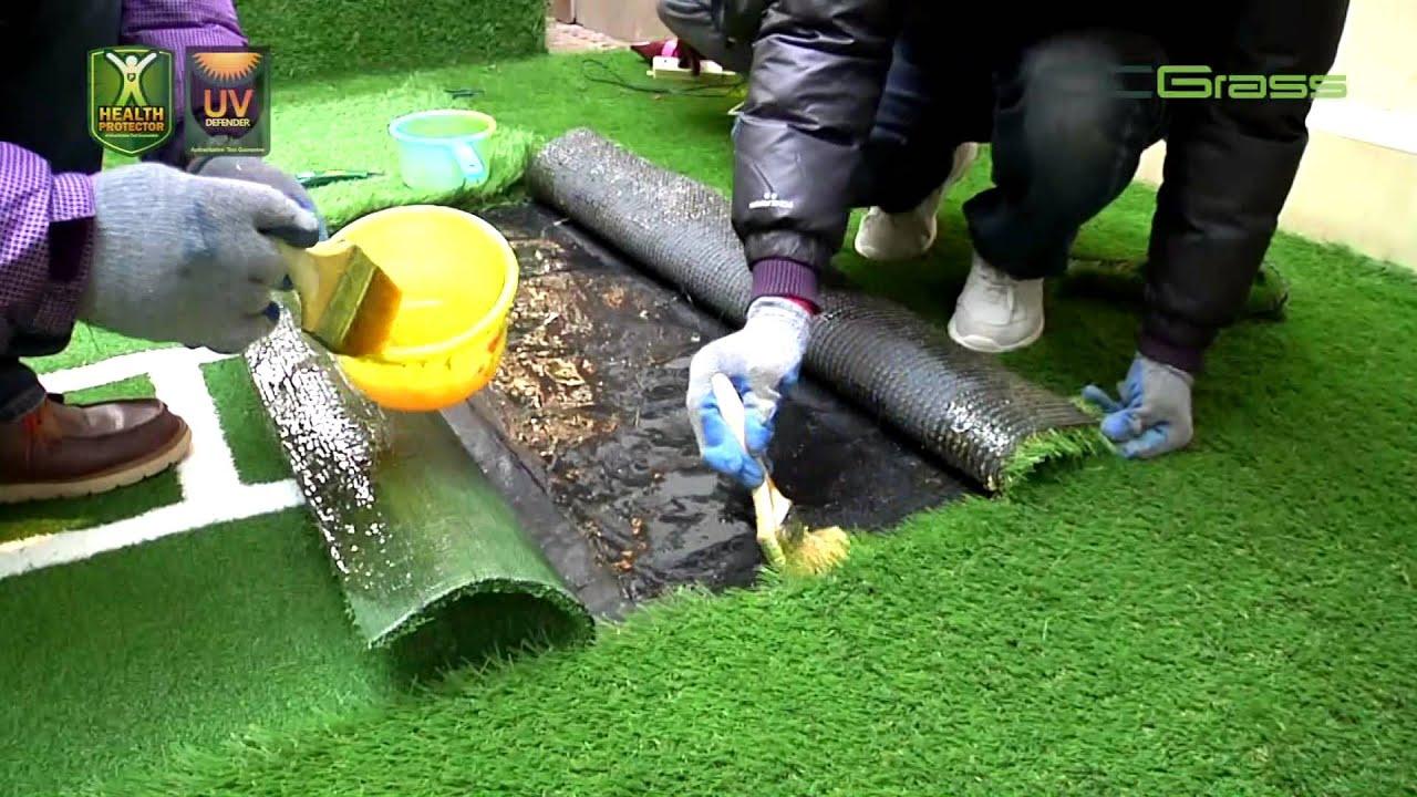 كيفية تركيب العشب الصناعي في الحديقة بواسطة Ccgrass Youtube