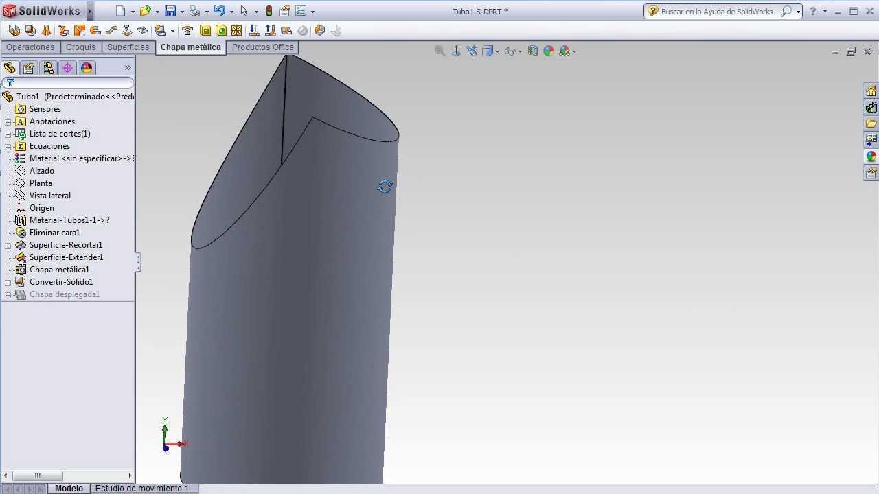 Solidworks - Desarrollo de plantilla para tubo con corte tipo boca ...