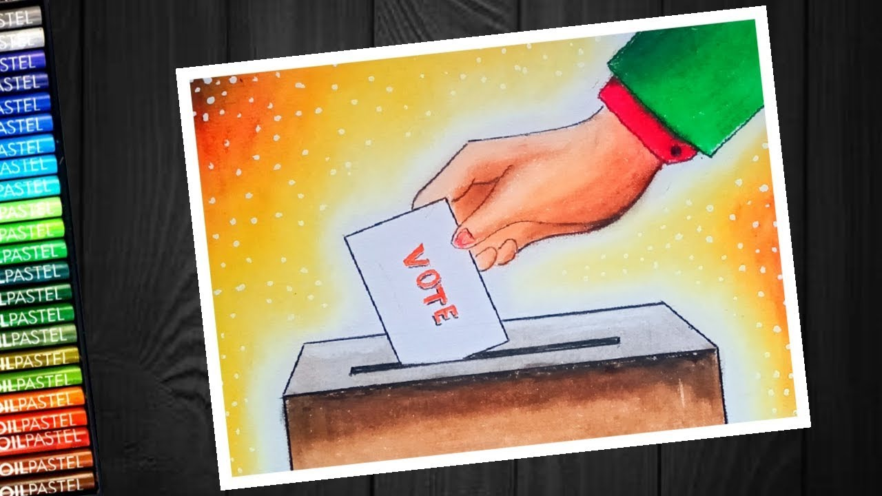 Matdata Jagrukta Poster Election Voter Awareness Drawing With Oil Pastel Step By Step Youtube