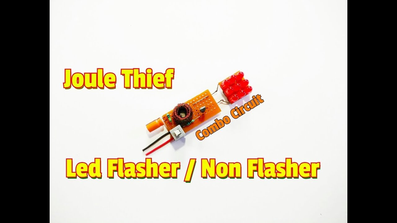 how to make joule thief led flasher non flasher combo circuit simple 1 5 volt led flasher circuit  [ 1280 x 720 Pixel ]