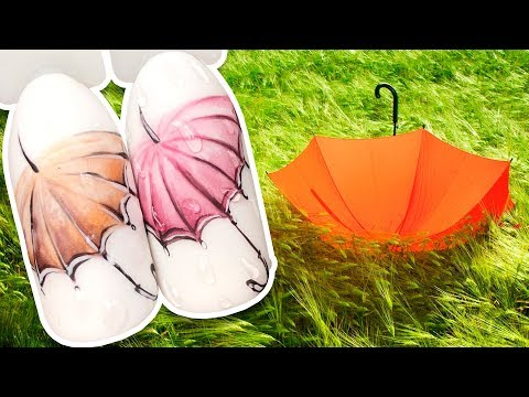 Дизайн ногтей зонтик с каплями
