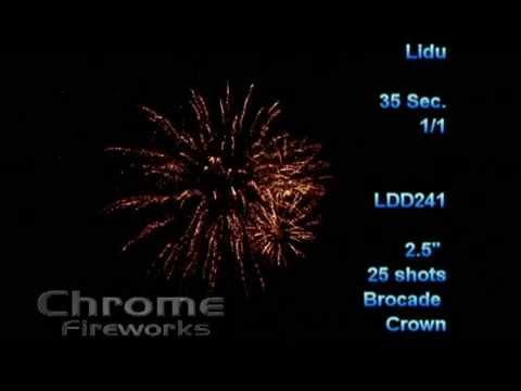 "LDD241 - 2.5"" 25 Shots Brocade Crown - Lidu - Available Through Chrome Fireworks"