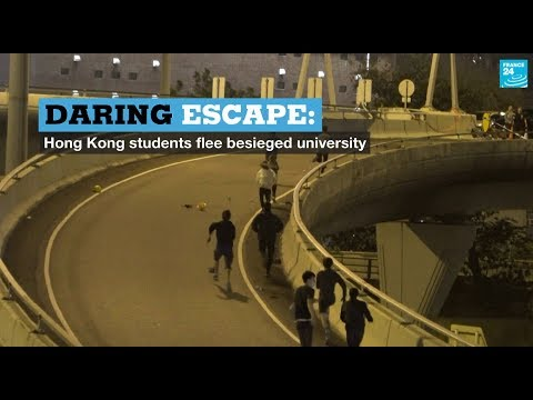 Daring escape: Hong Kong students flee besieged university