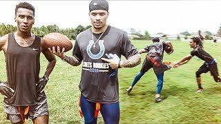PLAYING 7on7 FOOTBALL WÏTH AN NFL PLAYER ON MY TEAM (WE WENT OFF!)