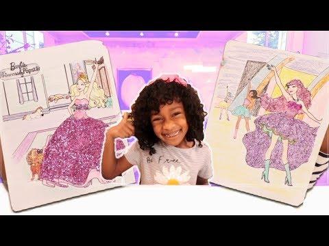 Barbie Princess vs Barbie Pop Star Coloring Pages for Kids - Glitter Toy Art