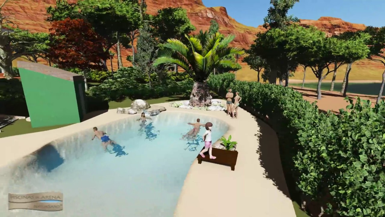dise o 3d para piscina de arena y paisajismo youtube