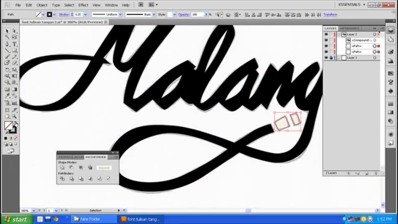 Making Typography with Adobe Illustrator CS5 Time-lapse - YouTube
