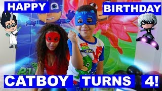 IT'S TIME TO BE A HERO PJ MASK BIRTHDAY PARTY! TODDLER TURNS 4 !