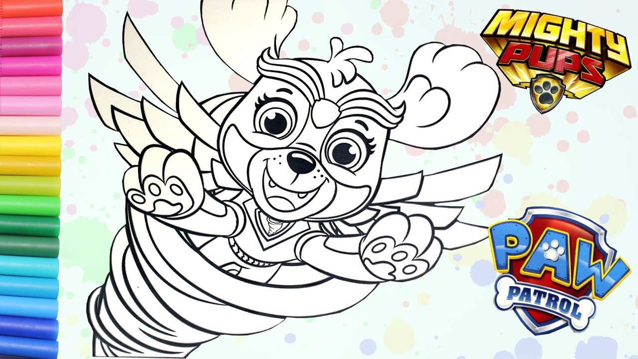 coloring paw patrol mighty pups glitter funtime