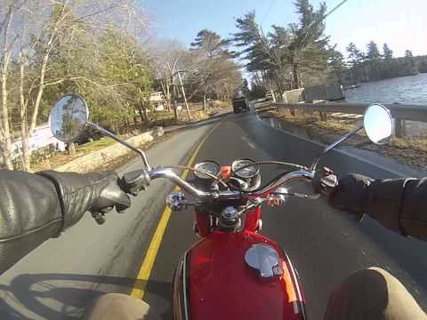 1971 CB350 Twin ride on Waverley Rd, Halifax Nova Scotia 26 Dec 2014