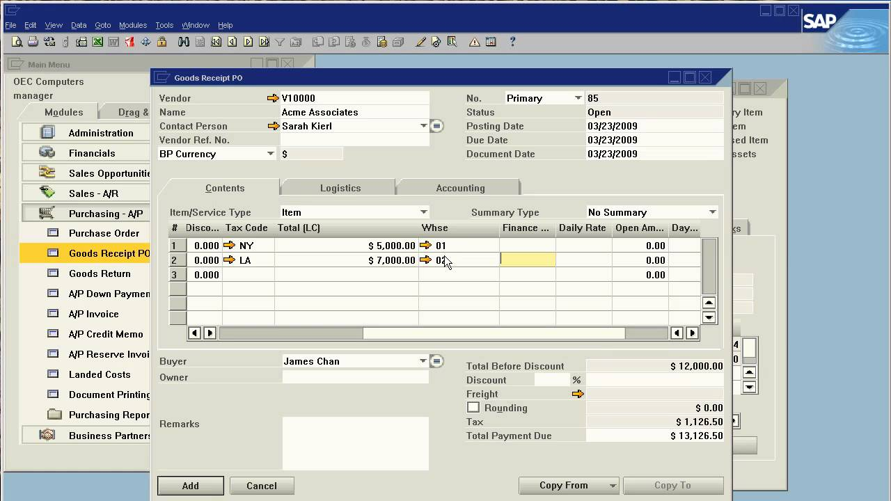 SAP Business One Introduction Real Time Inventory