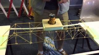 Spaghetti Truss Bridge (reinforced Beta Design) - Trial #4 (super-slo-mo)