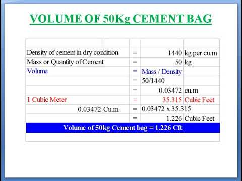 How To Calculate The Volume Of 1 Bag 50kg Cement