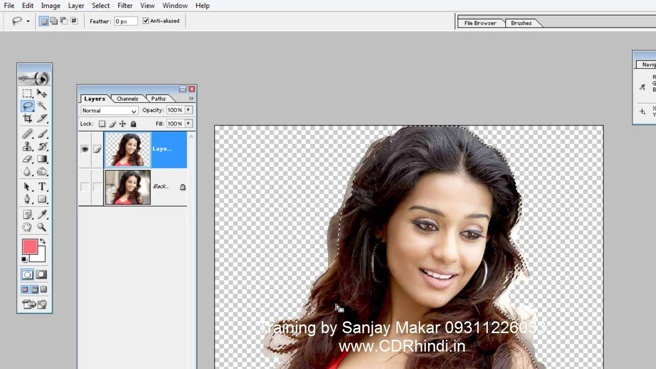 Learn Photoshop in hindi- 11 - Hair Cutout remove background