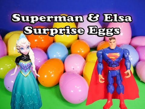 The Assistant Opens Frozen Elsa and Superman Funny Birthday  Surprise Eggs