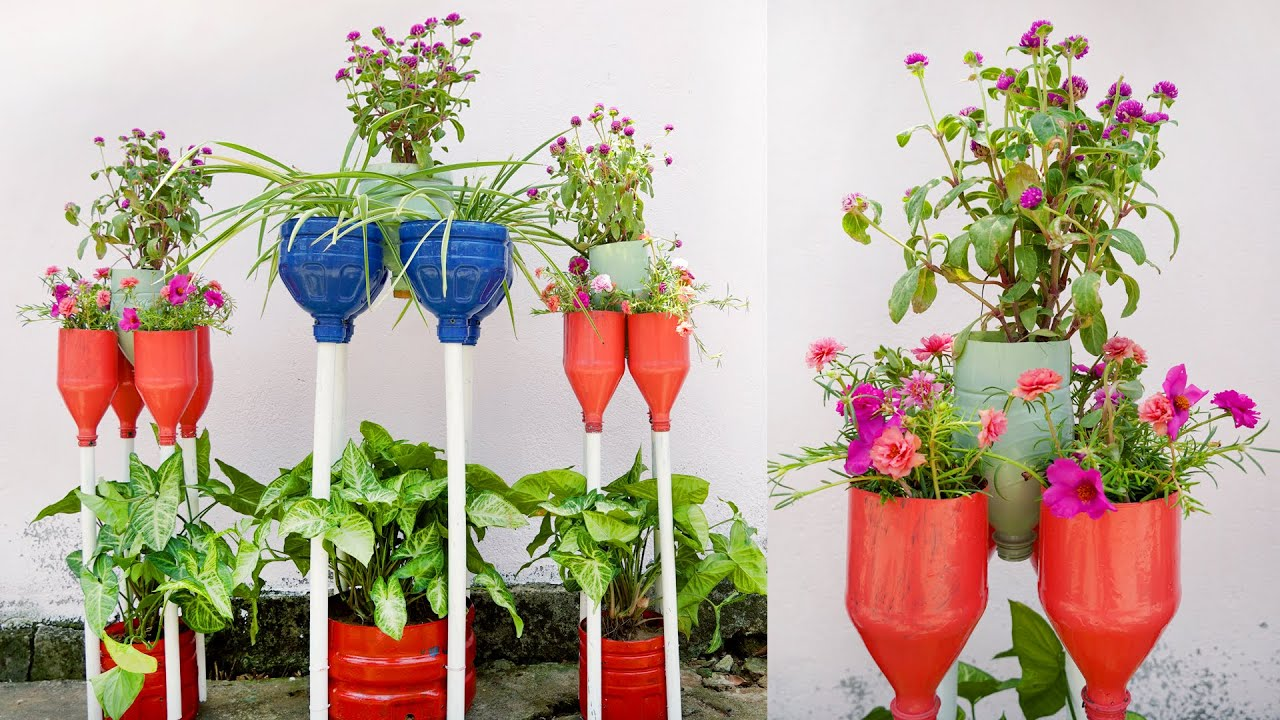 Wonderful flower pots, Creative plastic bottle recycling ideas for Your Garden