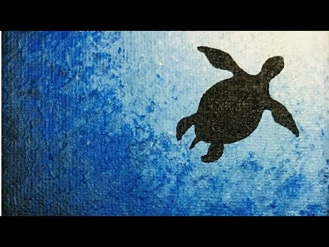 Sea Turtle Silhouette Painting EASY PAINTING