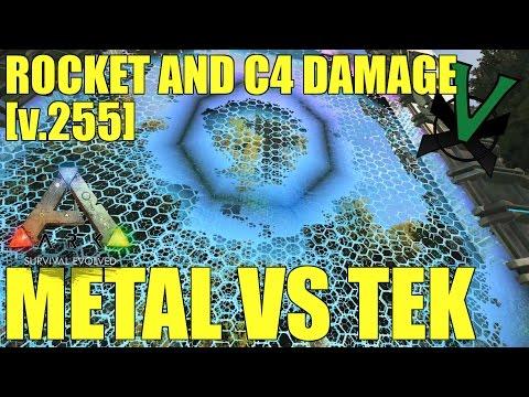 Metal Vs Tek   Rocket And C4 Damage Test [v.255]   PVP   Ark: Survival Evolved