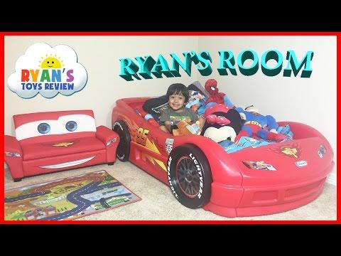 Ryan's Room Tour Disney Pixar Cars Lightning McQueen Toys Theme Bedroom