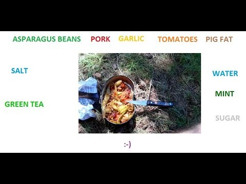 Forest cooking - meat, beans & tomatoes after field bike ride