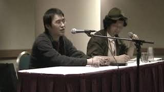 This is Takeshi Honda's panel at Katsucon 10 (2004). Honda has worked on Gainax and Studio Ghibli films.