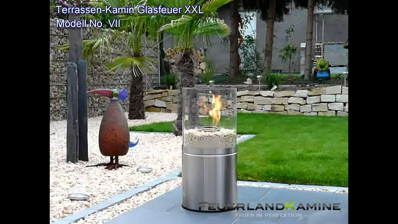 design terrassenkamin glasfeuer xxl no vii edelstahl mit naturstein youtube. Black Bedroom Furniture Sets. Home Design Ideas