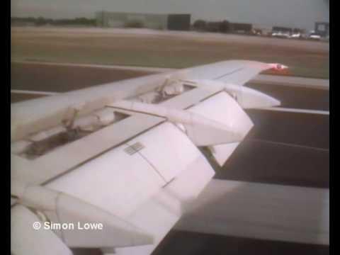 Dan-Air London BAC One Eleven.  Landing (wing view)