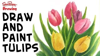 How to draw beautiful tulips