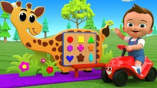 Little Baby Fun Learning Shapes & Colors for Children with Giraffe Shapes Wooden Toy Set 3D Kids Edu