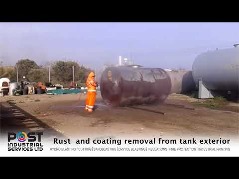Rust  and coating removal from tank exterior