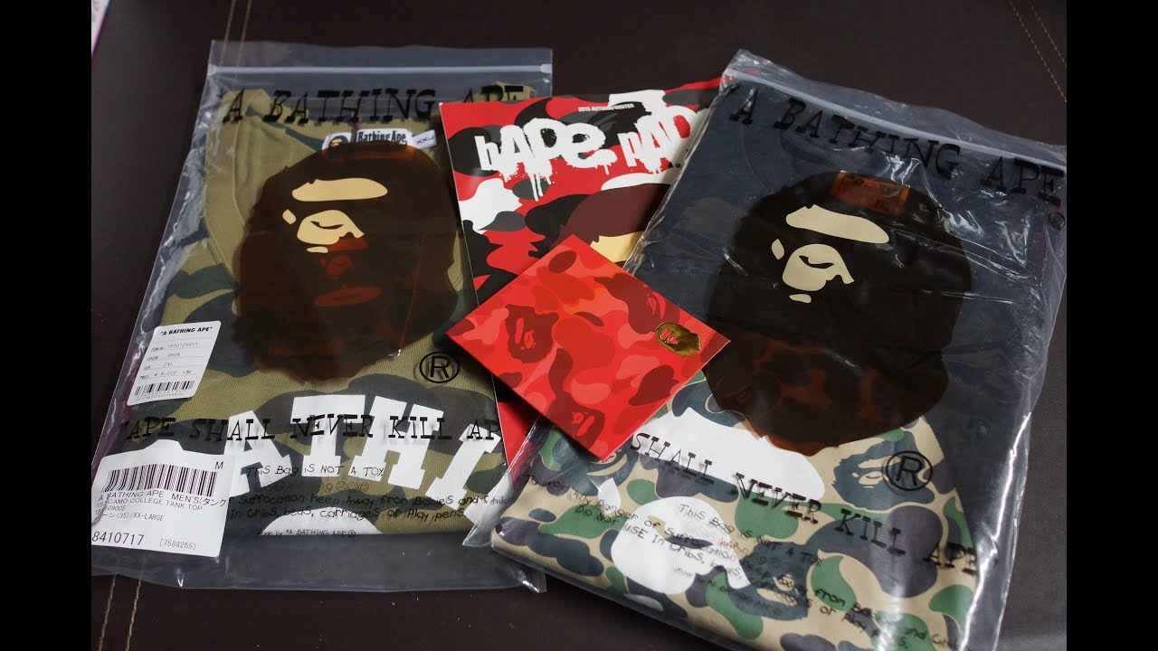e488faad8 UNBOXING BATHING APE (BAPE) COLLEGE CAMO TANK TOP ABC GREEN AUTUMN ...