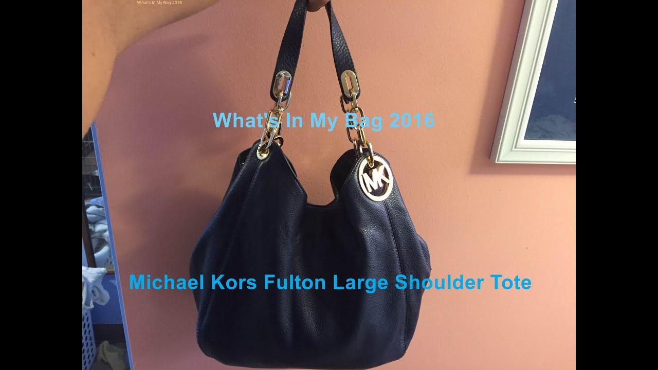 What S In My Bag 2017 Michael Kors Fulton Large Shoulder You