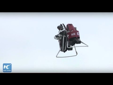 First human flying on Martin jetpack in China