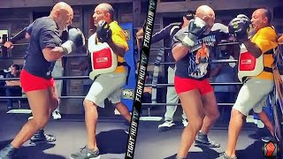 MIKE TYSON'S BRUTAL POWER IN SLOW MOTION! TYSON CONTINUES TRAINING FOR ROY JONES JR FIGHT