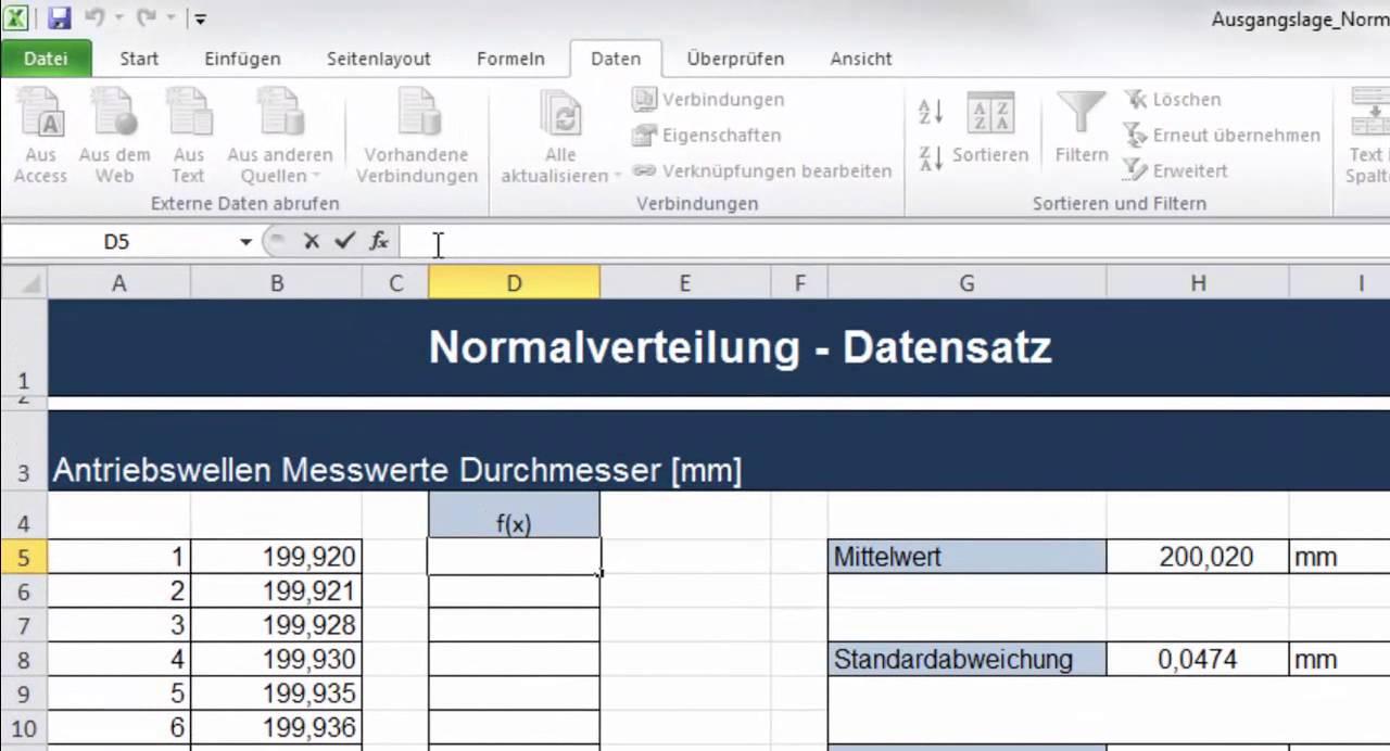 Normalverteilung Excel