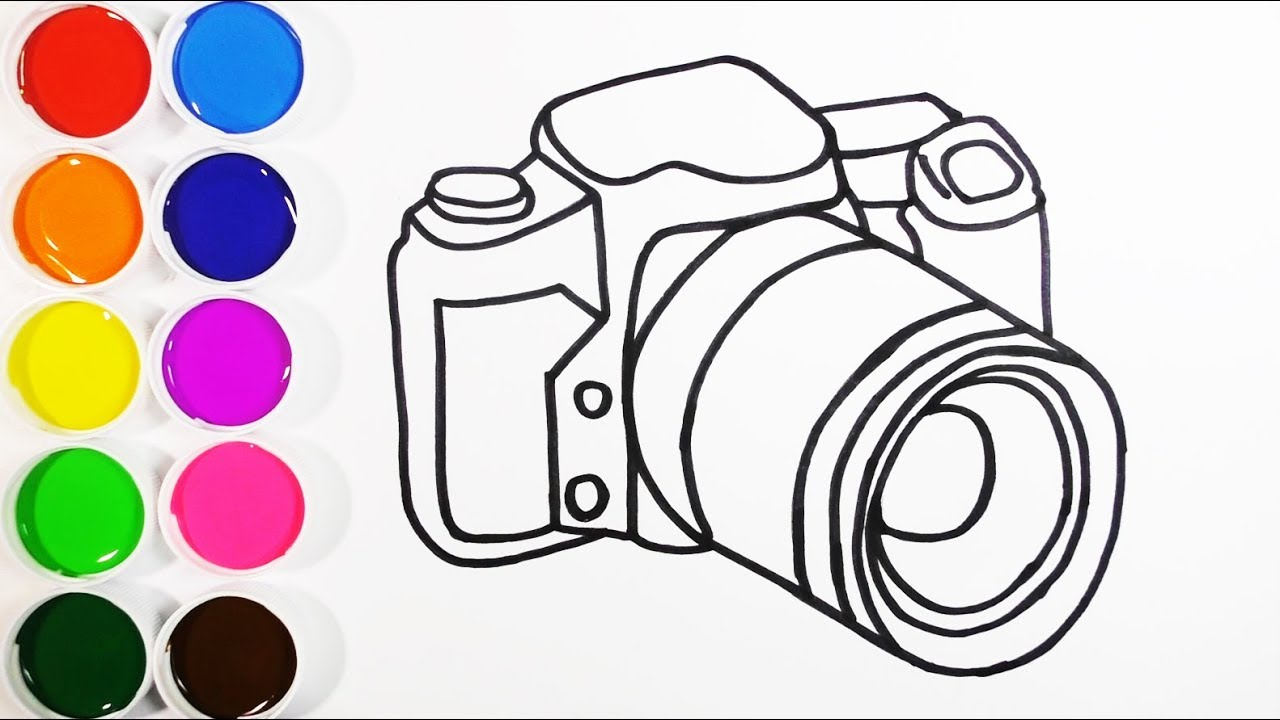 Dibuja Y Colorea Una Camara De Arco Iris Dibujos Para Niños Learn Colors Funkeep Youtube