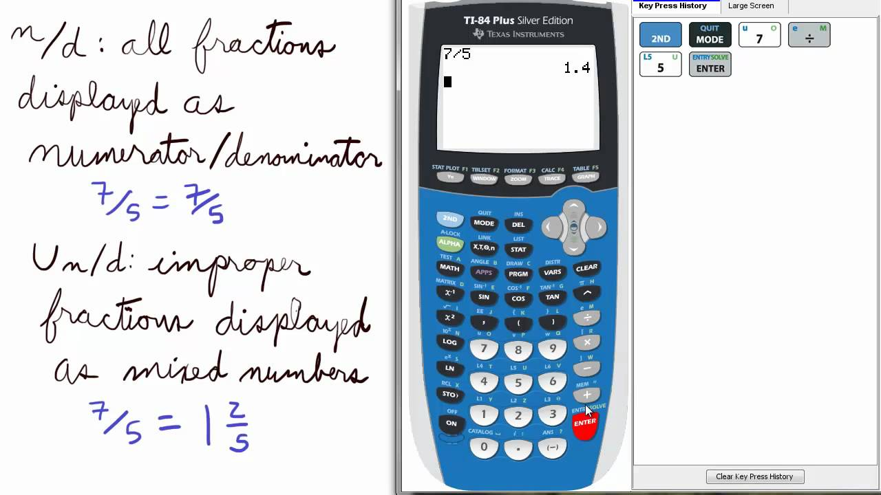 Worksheet Simplifying Mixed Numbers Calculator mode 10 numeratordenominator mixed number ti 84 calculator mode