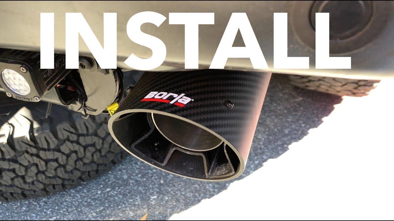 borla intercooled carbon fiber tips install